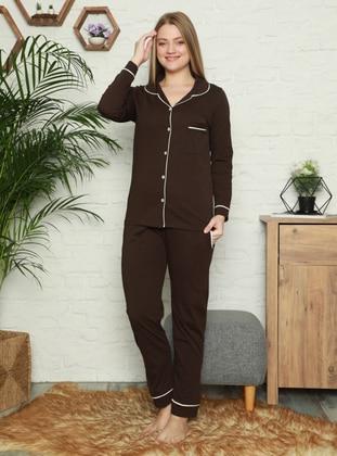 Brown - Shawl Collar - Pyjama Set