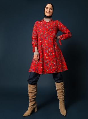 Red - Floral - V neck Collar - Unlined - Dress