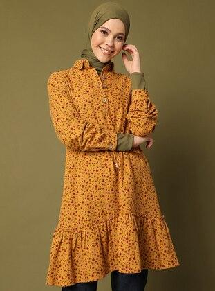 Mustard - Multi - Point Collar - Unlined - Dress