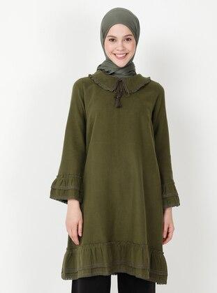 Khaki - Round Collar - Unlined - Dress