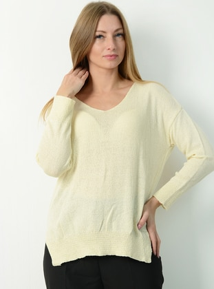 Beige - V neck Collar - Knit Sweaters