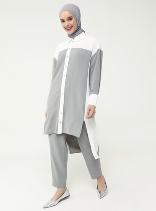 White - Gray - Unlined - Suit - Casual