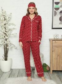 Maroon - Shawl Collar - Multi - Pyjama Set