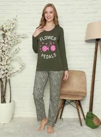 Khaki - Crew neck - Multi - Pyjama Set