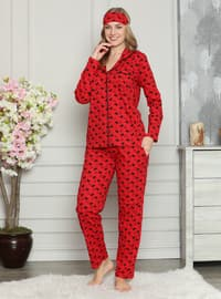 Red - Shawl Collar - Multi - Pyjama Set