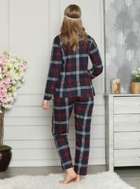 Navy Blue - Shawl Collar - Plaid - Pyjama Set