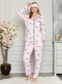 Pink - Shawl Collar - Multi - Pyjama Set