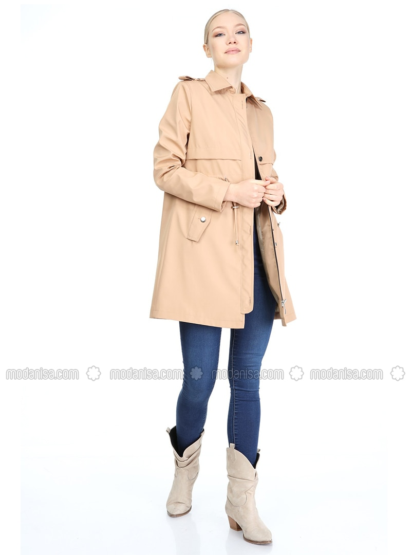 Camel - Fully Lined - Point Collar - Trench Coat