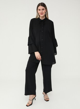 Oversize Elastic Waist Oxford Bag Trousers - Black - Alia