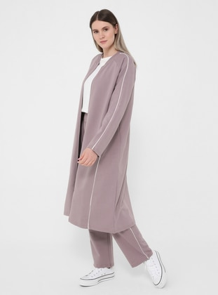 White - Lilac - Crew neck - Plus Size Tracksuit Sets