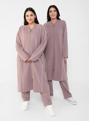 White - Lilac - Crew neck - Plus Size Tracksuit Sets - Alia