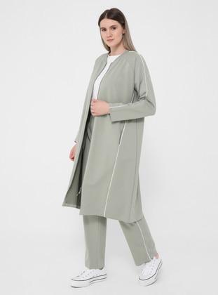 Olive Green - Crew neck - Plus Size Tracksuit Sets - Alia