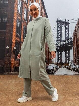 Olive Green - Crew neck - Plus Size Tracksuit Sets