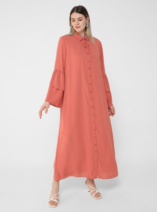 Oversize Sleeves Flounce Detailed Textile Dress - Salmon