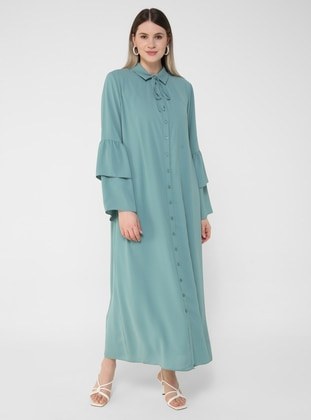 Olive Green - Unlined - Point Collar - Plus Size Dress - Alia