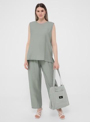 Olive Green - Crew neck - Unlined - Plus Size Suit