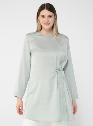 Green - Crew neck - Plus Size Tunic