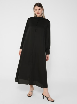 Black - Unlined - Button Collar - Plus Size Dress