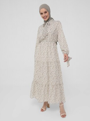 Ecru - Brown - Floral - Crew neck - Fully Lined - Modest Dress