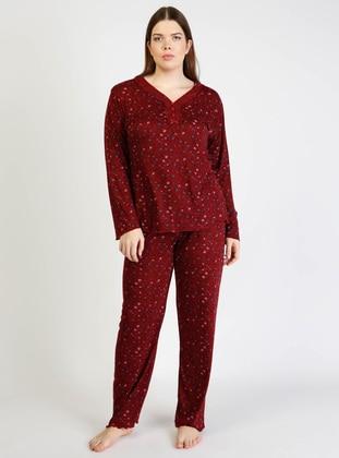 Maroon - V neck Collar - Multi - Pyjama Set