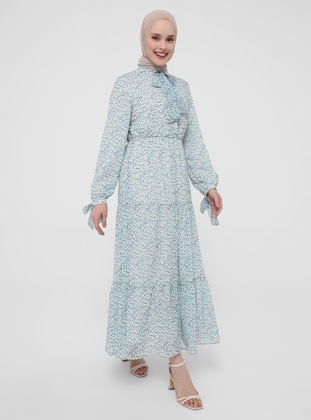 White - Ecru - Blue - Floral - Crew neck - Fully Lined - Modest Dress