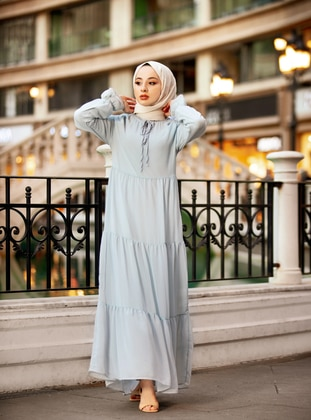 Blue - Crew neck - Fully Lined - Modest Dress - Casual