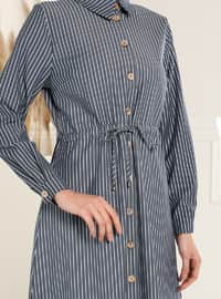 Waist Ribbon Striped Tunic - Navy Blue