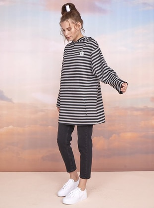 Stripe - Gray - Black - Sweat-shirt
