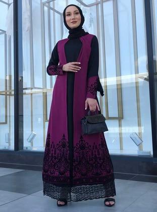 Cherry - Crew neck - Unlined - Modest Dress