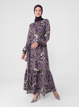 Purple - Floral - Crew neck - Unlined - Modest Dress