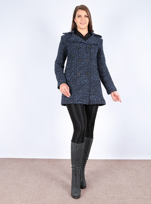 Navy Blue - Multi - Fully Lined - Shawl Collar - Coat
