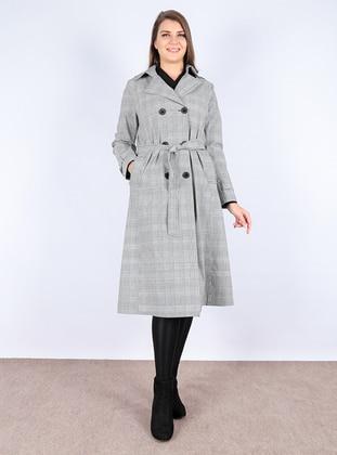 Gray - Stripe - Fully Lined - Shawl Collar - Trench Coat - Apaydın Giyim