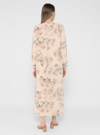 Powder - Floral - Fully Lined - Crew neck - Plus Size Dress
