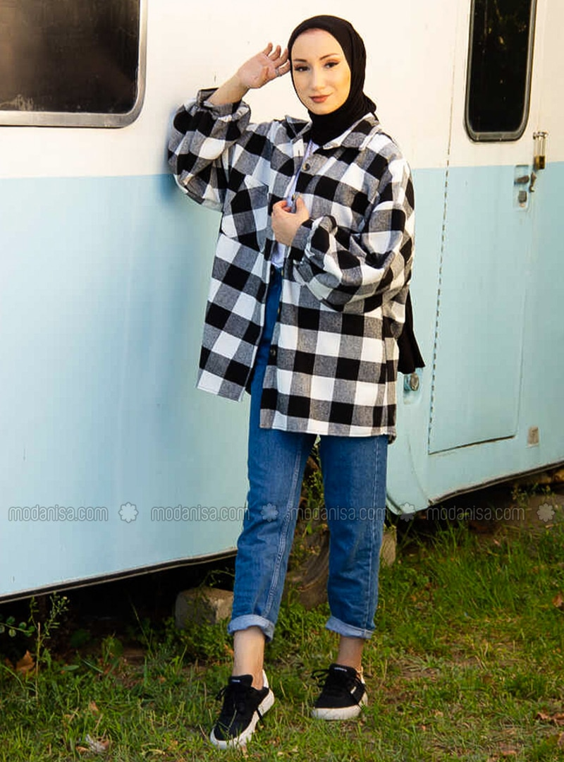 White - Black - Plaid - Point Collar - Tunic