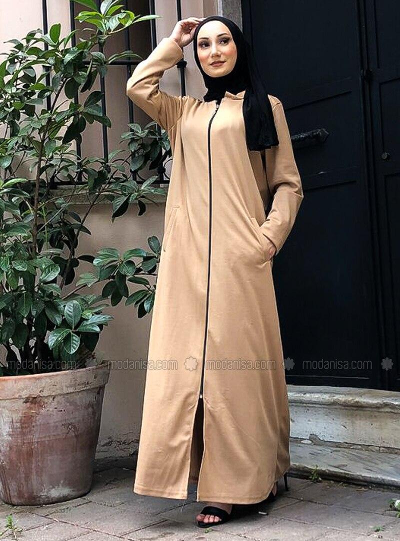 Beige - Crew neck - Unlined - Plus Size Abaya
