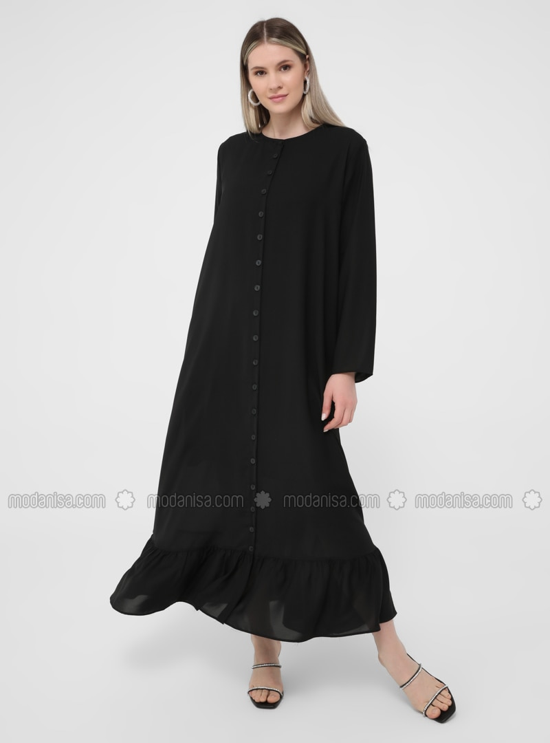 Oversize Sleeves Ruffle Detailed Relax Dress with Trimmings - Black