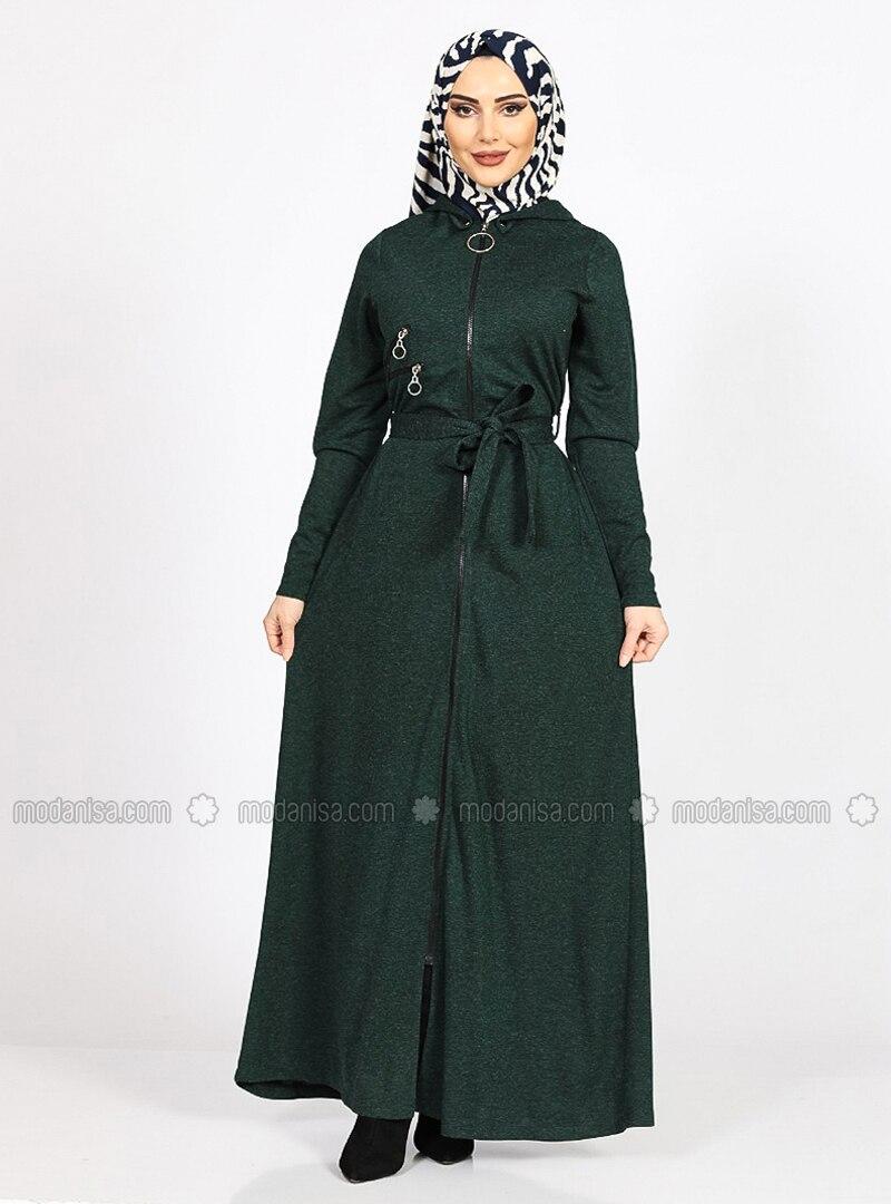 Emerald - Crew neck - Unlined - Plus Size Abaya