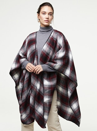 Maroon - Multi - Unlined - Poncho