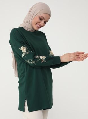 Embroidered Sleeve Sweatshirt - Emerald - Woman