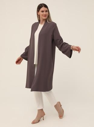 Oversize Sleeves Flounce Detailed Textile Cape - Cold Purple