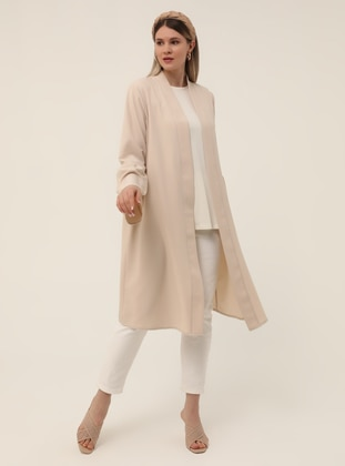 Beige - Unlined - Plus Size Coat