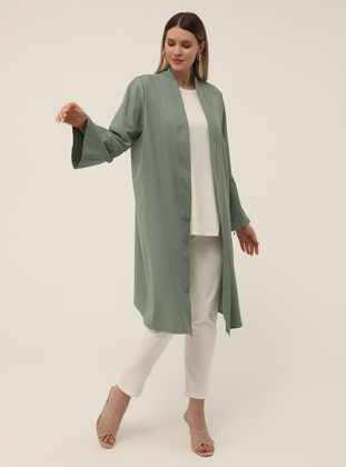 Oversize Sleeves Flounce Detailed Textile Cape - Oil Green