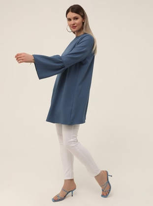 Blue - Crew neck - Plus Size Tunic