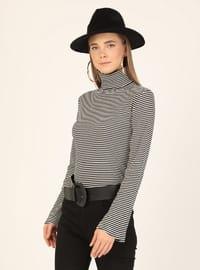 White - Black - Stripe - Polo neck - Blouses