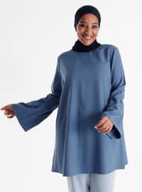 Sleeves Flounce Detailed Tunic - Ice Blue