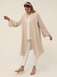 Oversize Sleeves Flounce Detailed Textile Cape - Vanilla
