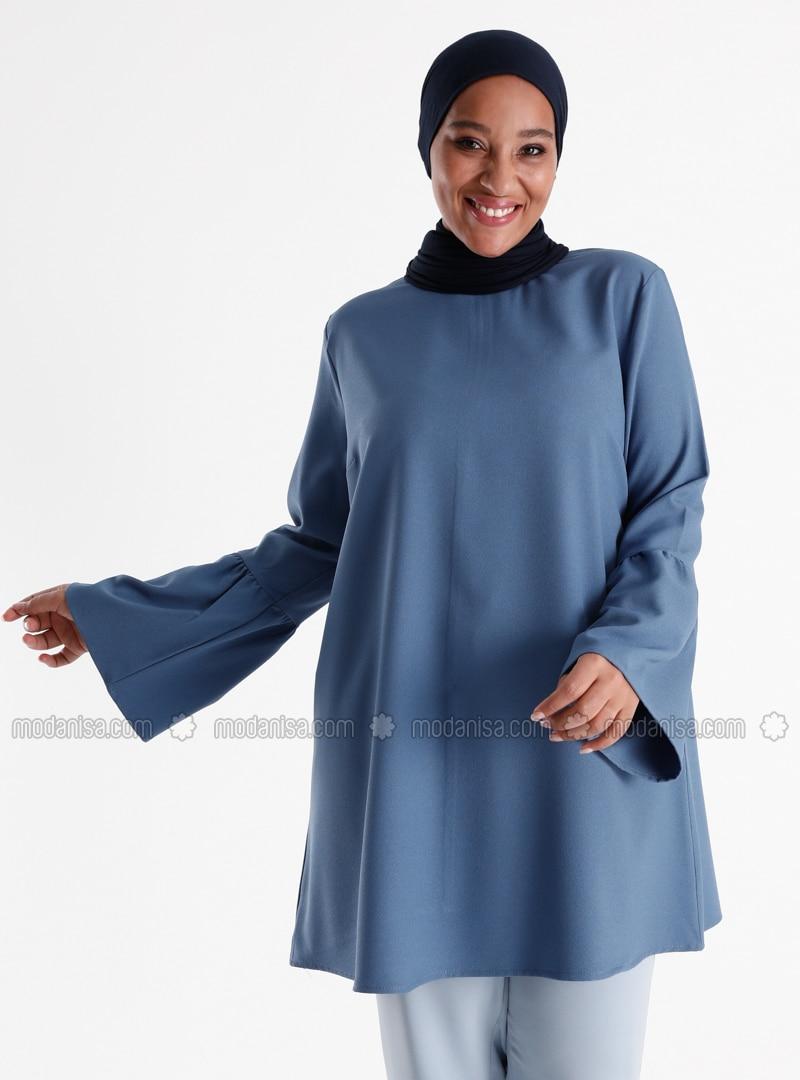 Sleeves Flounce Detailed Tunic - Ice Blue
