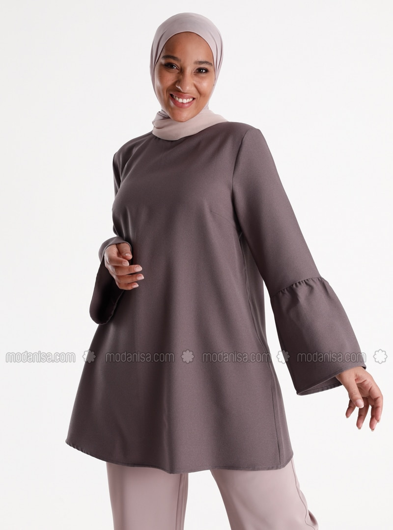 Sleeves Flounce Detailed Tunic - Cold Purple