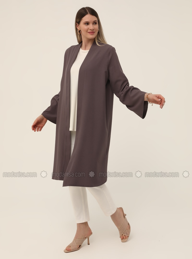 Oversize Sleeves Flounce Detailed Textile Cape - Cold Purple