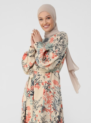 Beige - Salmon - Floral - Point Collar - Unlined - Modest Dress